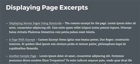 Отображение страниц с отрывком в WordPress