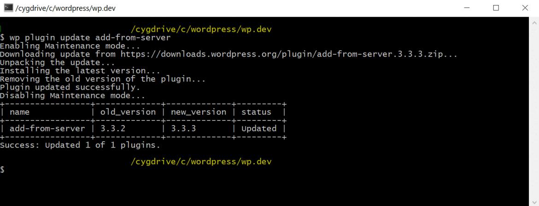 WP-CLI manually update WordPress plugin